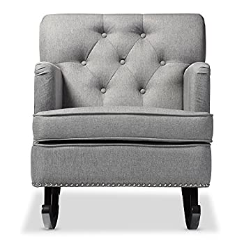 Baxton Studio Bethany Modern & Contemporary Fabric Upholstered Button-Tufted Rocking Chair, Grey