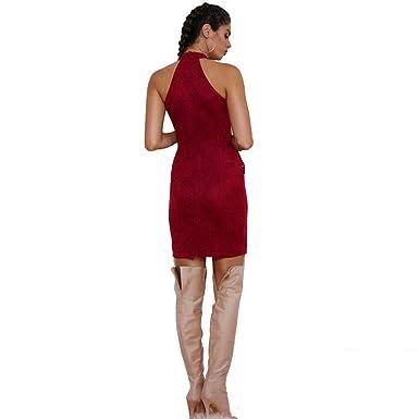 8f5ee3b529443 AmerStar Women Sexy Dress Suede Plunge Lace Detail Bodycon Dress ...