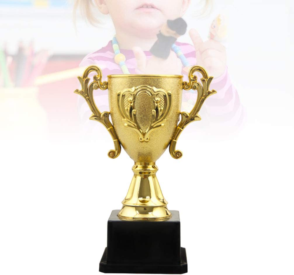 18cm BESPORTBLE Plastic Trophy Mini Kids Gold Cup Award Trophy Toy Prizes Model with Black Stand for Kindergarten Primary School