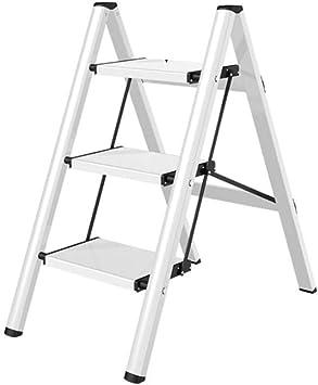Estante De Escalera Pequeña Antideslizante For El Hogar Aleación De Aluminio Plegable Escalera De 3 Escalones Estante De Flores Panel De Pie: 32x20cm (Color : White): Amazon.es: Bricolaje y herramientas