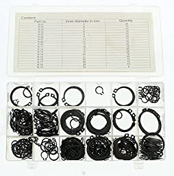 ABN 300-pc Snap Ring Assortment - Heat-treated, High Carbon Steel, Storage Case