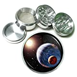 Solar Planet Space Em1 Silver Chrome 63mm Aluminum Magnetic Metal Herb Grinder 4 Piece Hand Muller Spices & Herb Heavy Duty 2.5''