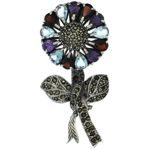 Sterling Silver Marcasite Large Sunflower Brooch Pin w/ Pear Cut Garnet, Amethyst & Blue Topaz Stones, 2 7/16 in. (62mm) tall