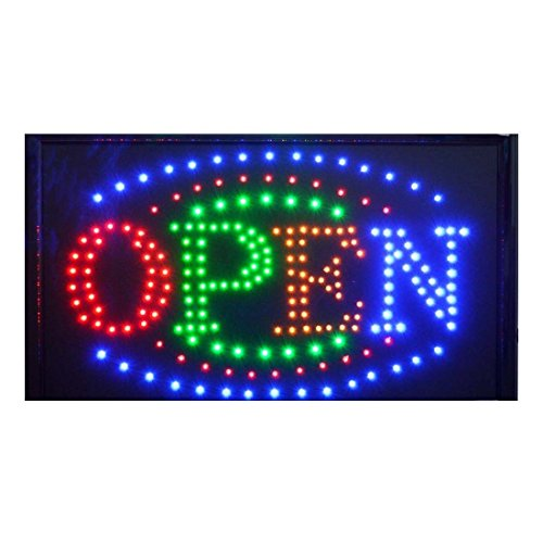 "Large BRIGHT Animated Business LED OPEN Sign w. Switch --Size: 21"" x 13"" x 1"" from Unknown"