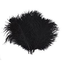 Happy Will 100 Pcs 15-20cm Real Natural Ostrich Feathers Great Decorations for Wedding Party (Black)