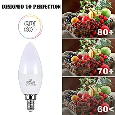 Hansang LED Candelabra Bulbs 6 Watt (60 Watt Equivalent),Warm White 2700K,600lm RA>83,Candle Bulb Base E12 for Chandelier B11 Ceiling Fan Bulb Non-Dimmable (6 Pack)