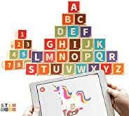 36 Pieces Solid Pinewood Kippto Alphabet and Number Blocks for Toddlers 2 3 4 Years Old. Helps Kids Read ABC,