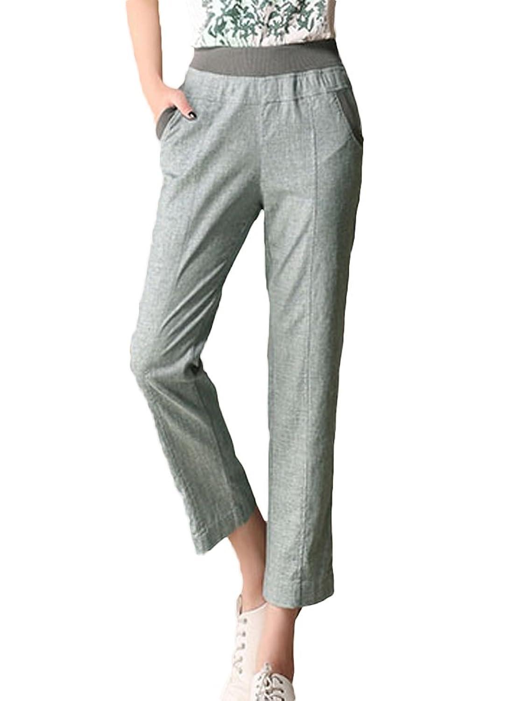 Insun Women's Casual Linen High Waist Solid Capri Pants
