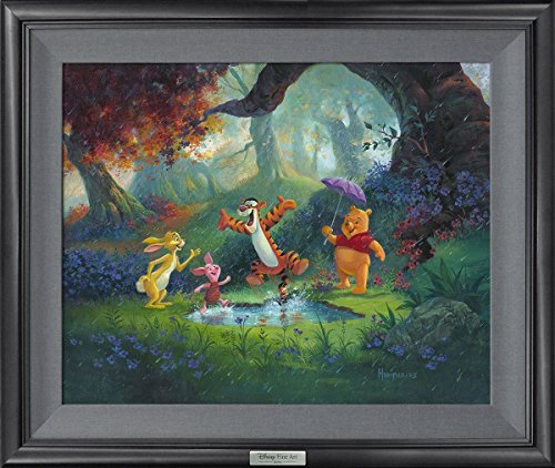 Disney Fine Art Puddle Jumping by Michael Humphries Frame Dimensions 21.5 Inches x 25.5 Inches Winnie The Pooh Reproduction Silver Series Limited Edition on Canvas Wall Art