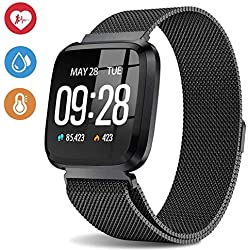 Deword 1.3 Inch Fitness Tracker Smart Watch, IP68 Waterproof Activity Tracker with Heart Rate Monitor, Wearable Smart Bracelet Sleep Monitor Step Counter Pedometer Watch for Men Woman