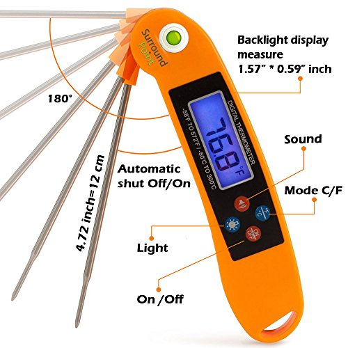 Digital Thermometer Talking Instant Read- Electronic BBQ- Great for Barbecue, Baking, Grilling, Cooking, All Food & Meat, Liquids- Collapsible Internal long Probe (Orange) By Surround Point by Surround Point (Image #3)