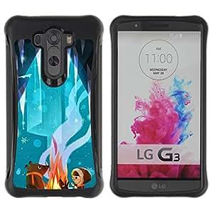 Híbridos estuche rígido plástico de protección con soporte para el LG G3 2014 Smart Phone - fairy tale bear cute cartoon kid fire