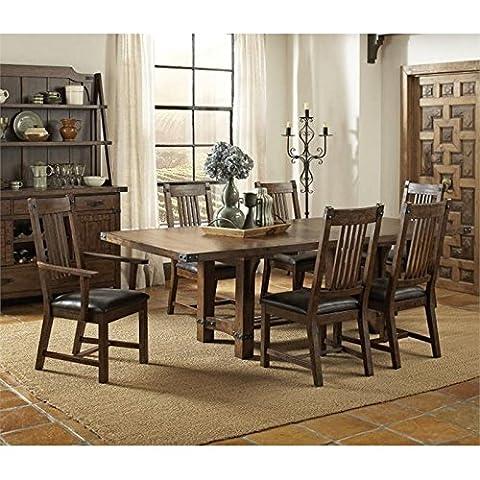 Coaster Padima 7 Piece Extendable Dining Set in Rustic Cognac - Extendable Dining Table Set