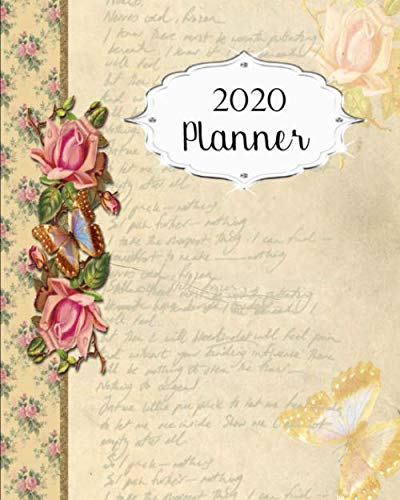 2020 Planner: Vintage Daily, Weekly & Monthly Calendars | January through December | #9 Floral Flower | Butterfly | - Antique Desk Calendar Monthly Floral