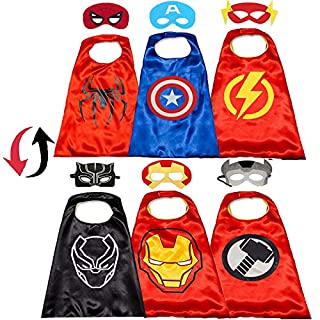 Aodai Superhero Double Sided Cape and Masks for Kids Compatible Superhero Toys and Avengers Costumes 3-10 Year Old Boys Best Toys
