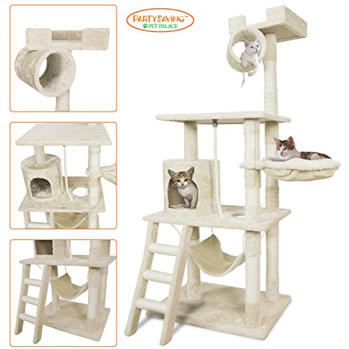 "51DCD6AzXIL - PARTYSAVING PET PALACE 62"" Cat Tree Kitten Activity Tower Condo with Hammock, Deluxe Scratching Posts, and Rope, APL1354"