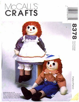McCall's 8378 Crafts Sewing Pattern Stuffed Raggedy Ann and Andy Doll with Clothes Apron and (Raggedy Ann And Andy Doll Patterns)