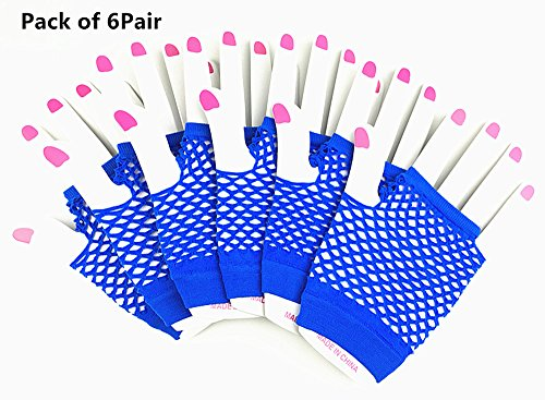 6 pairs of Brief Paragraph Nets Gloves Half-finger Fishnet Short Hip-hop Dancing Punk Gloves(Blue) by Alimitopia - Street Diva Costumes