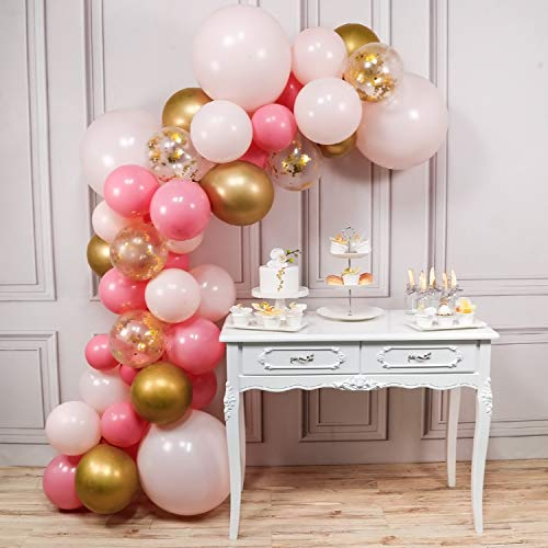 PartyWoo Pink and Gold Balloons, 44 pcs Light Pink Balloons Fuschia Balloons Gold Metallic Balloons Gold Confetti Balloons and Giant Balloon for Princess Party, 4 pcs Pink Giant Balloons Included