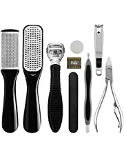 Foot File Pedicure Kit Professional Feet Peel Dead Skin Callus Remover Clipper Scraper Rasp Set for Men Women Salon Home Use