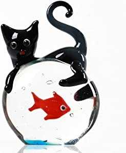Hand Blown Glass Cat and Goldfish Figurine Ornament,Animal Ornament for Home Decor Sculpture ,Animal Collection for Birthday Gift,Glass Paperweight