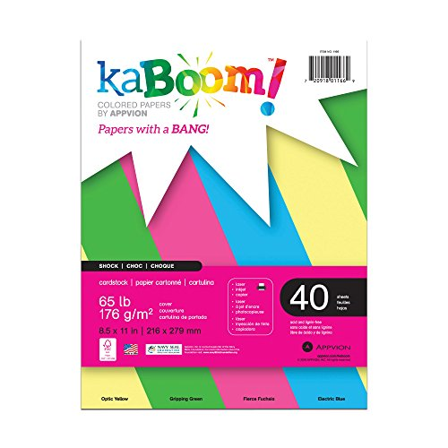 Kaboom Shock Assorted Neon Colored Card Stock for Signs, ...