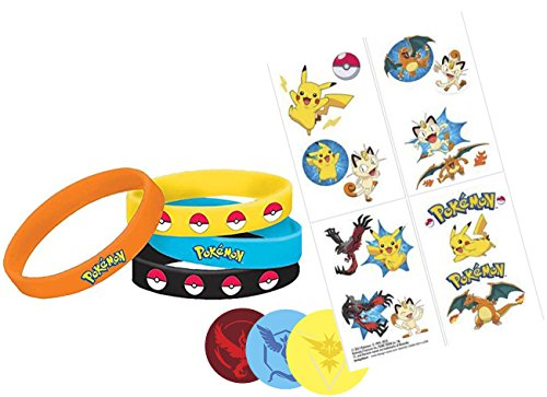 [Pokemon Party Favor Set, 4 Wristbands, 16 Tattoos and 3 Pins (1.5 inches) Gear for Trainers - Team Red, Team Blue and Yellow Team - Valor, Mystic & Instinct - Pokemon Gift] (Tattoos Of Princess Crowns)