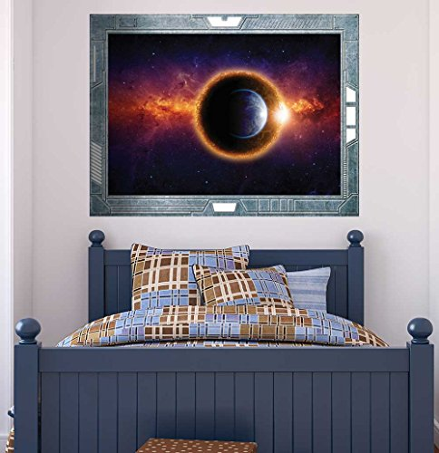Science Fiction ViewPort Decal Earth being Surrounded by Spectacular Planets Wall Mural