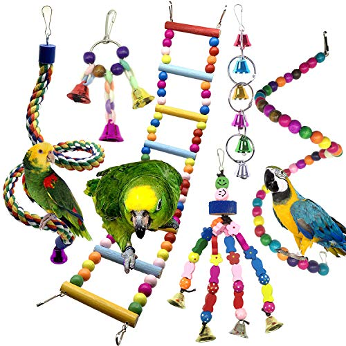 Bird Parrot Toys for Cages, PietyPet 6 pcs Colorful Chewing Hanging Swing Pet Bird Toy with Bells, Wooden Ladder Hammock, Rope Perch, Birdcage Stands for Parakeets Cockatiels, Conures, Macaw, Parrot - Cage Bird Large Parrot