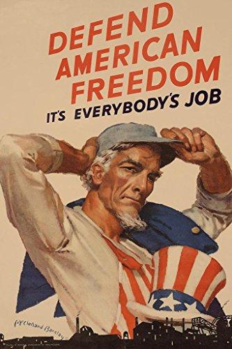 Uncle Sam Defend American Freedom WPA War Propaganda Poster 24x36 inch