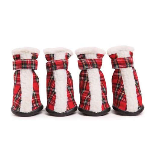 Boots East Collection Side - East Side Collection Polyester Holiday Tartan Dog Boots, Medium, Red