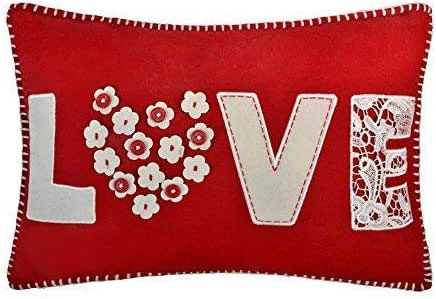 JW 3D Flowers Accent Pillow Cases Decorative Cushion Covers Hollow Out Applique Buttons Letters Wool Pillowcases Home Sofa Bed Room Decor 14 x 20 Inch Love