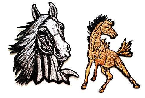 Nipitshop Patches Set 2 Pcs Horse Running Patch Black Horse Racehorse DIY Applique Embroidered Sew Iron on Patch for Clothes Backpacks T-Shirt Jeans Skirt Vests Scarf Hat Bag