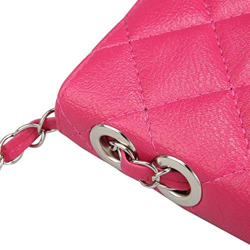 Bolso de las señoras - All4you Moda PU cuero lindo Mini cruz cuerpo cadena bolso hombro Bag(Black) Rojo