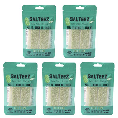 - Salteez Beer Salt Strips - Real Salt & Lime Flavor Strips That Stick to Your Bottle, Can, or Cup - For a Perfectly Dressed Beer Anytime Anywhere! (Salt & Lime, 5 Pack)