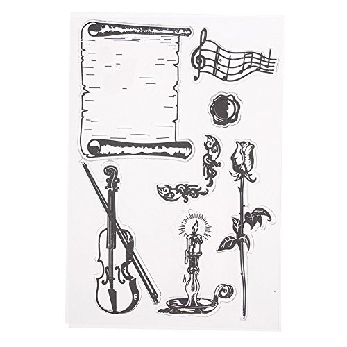 1Pcs Decorative Stamp Vintage Different Style Transparent Silicone Clear Rubber Sheet Cling Scrapbooking DIY Craft Christmas Designs Card Making Decoration Supplies Kit Work of Art For Kids (Violin)