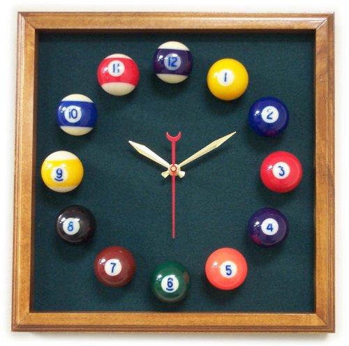 12in Square Billiard Clock Mahogany Spruce Mali (Spruce Square Clock)