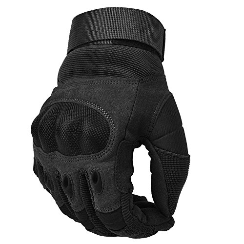 Military Hard Knuckle Tactical Gloves Motorcycle Gloves Motorbike ATV Riding Army Combat Full Finger Gloves for Men Airsoft Paintball Black Medium