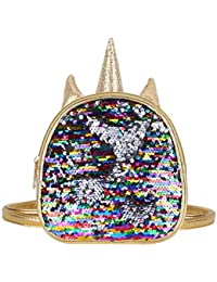 Gilrs Glittery Sequins Cartoon Theme Backpack Mini Satchel Daypack Travel Shoulder Bag Gold One Size