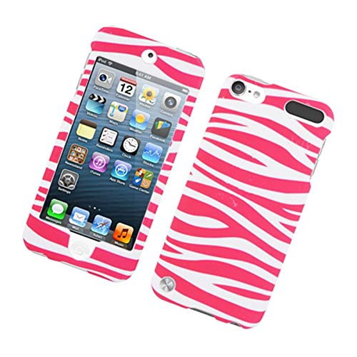 Insten Zebra Rubberized Hard Snap-in Case Cover Compatible with Apple iPod Touch 5th Gen, Hot Pink/White