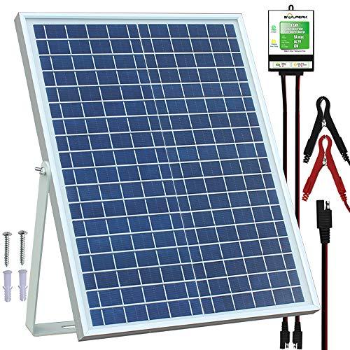 SOLPERK 20W Solar Panel,12V Solar Panel Charger Kit+8A Controller, Suitable for Automotive, Motorcycle, Boat, ATV, Marine, RV, Trailer, Powersports, Snowmobile etc. Various 12V Batteries. (20W Solar (Best Solar Panel Kit For Rv)