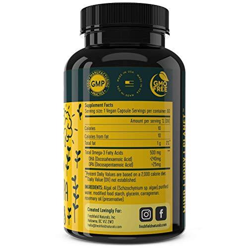 Freshfield Vegan Omega 3 DHA Supplement: 2 Month Supply. Premium Algae Oil, Plant Based, Sustainable, Mercury Free. Better Than Fish Oil! Supports Heart, Brain, Joint Health - DPA for Men & Women
