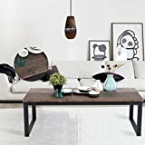 Aingoo Rustic Coffee Table Large Sofa Table Mid-Century Square with Metal Frame Dark Brown Wooden CT-01