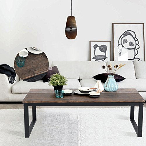 aingoo rustic coffee table large sofa table mid-century square metal frame dark brown wooden ct-01