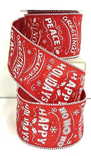 Christmas Words Red Linen Wired Ribbon~HoHo,Noel,Peace,etc~2 1/2'' W x 10 yd RE-214