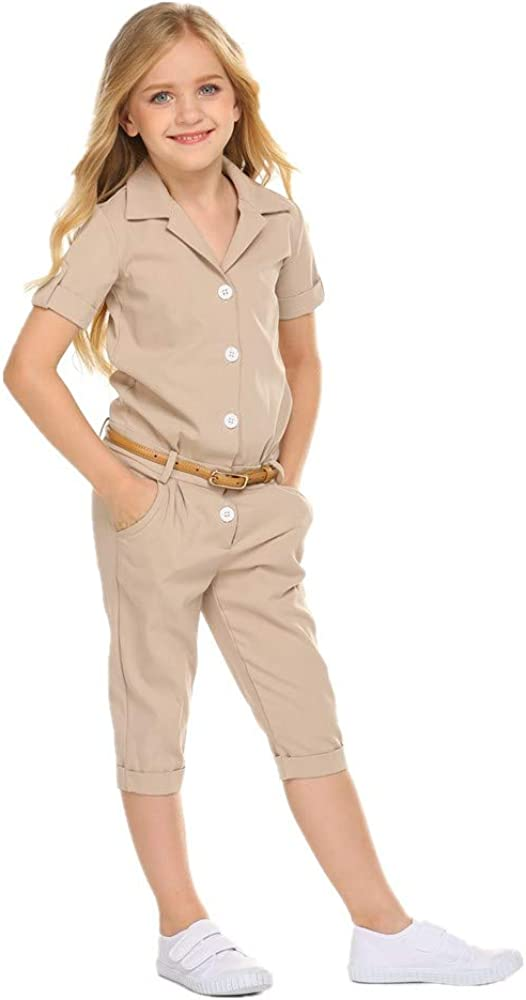 GODEE Kid Girls Summer Jumpsuits Solid Color V-Neck Collar Button Romper Overalls with Pocket 3-8T