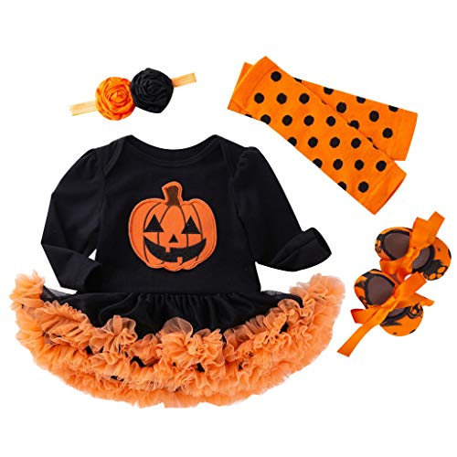Jack O'Lantern Baby Girl Outfit,Crytech Toddler Newborn Short Sleeve Pumpkin Skull Print Romper Jumpsuit Tutu Tulle Skirt Dress with Bow Headband for Halloween Costume Clothes (0-3 Months, 4 Pcs)