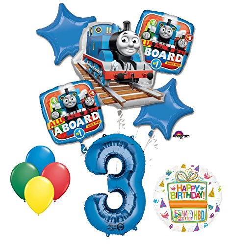 Mayflower Products The Ultimate Thomas the Train Engine 3rd Birthday Party Supplies and Balloon Decorations