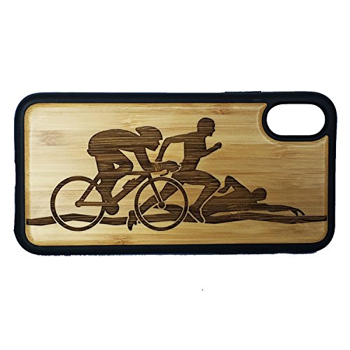 Triathletes Edge - Triathlon Phone Case Cover for iPhone X by iMakeTheCase | Eco-Friendly Bamboo Wood Cover + TPU Wrapped Edges | Swim Cycle Run | Bicycling Running Swimming Cyclist Athlete Sport