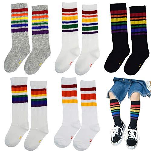 5 Pack Kids Childs Cotton Knee High Calf Stripe Athletic Tube Crew Socks 4-6 years